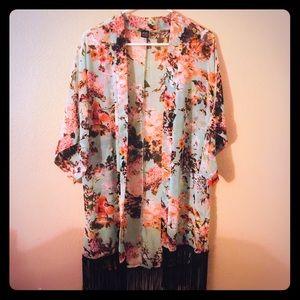 Floral Kimono with Fringe